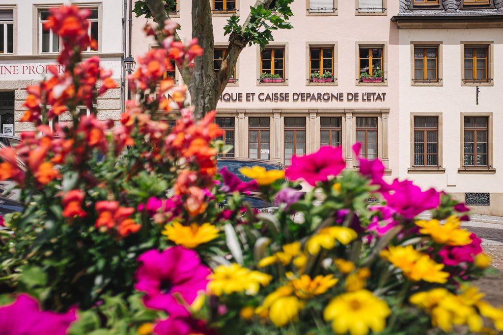 Blumen an einer Straße in Vianden