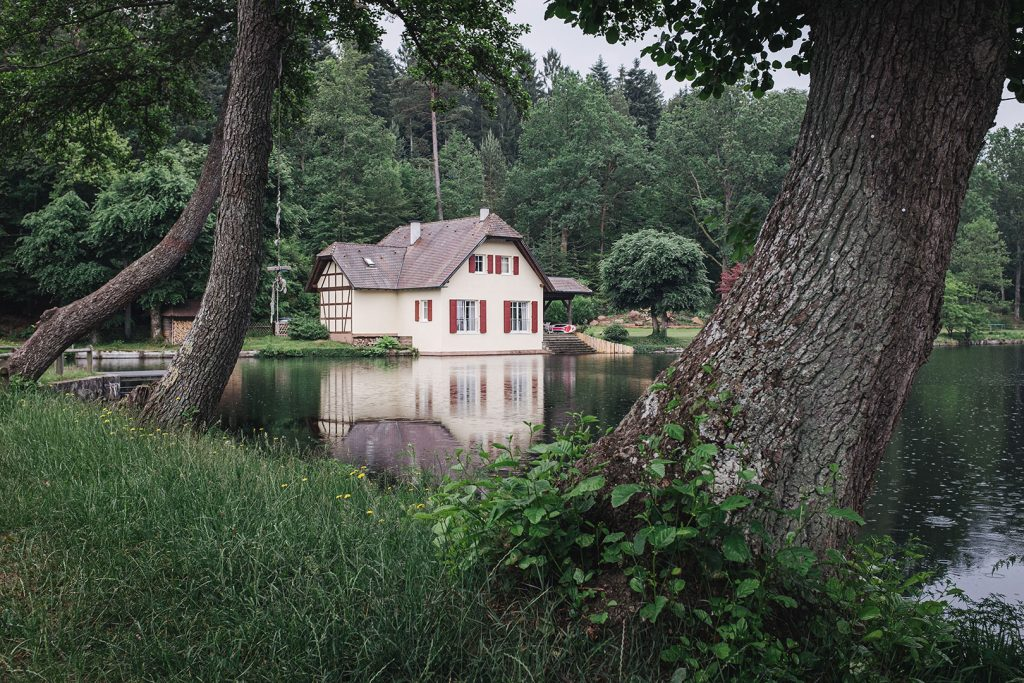 Teich mit Haus in Ludwigswinkel