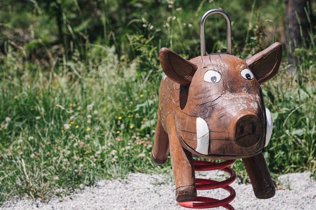 Wildschwein auf dem Abenteuerspielplatz Schmelz