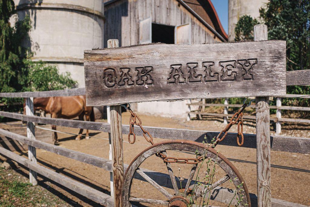 """""""Oak Alley"""" Schild in Weitwörth"""