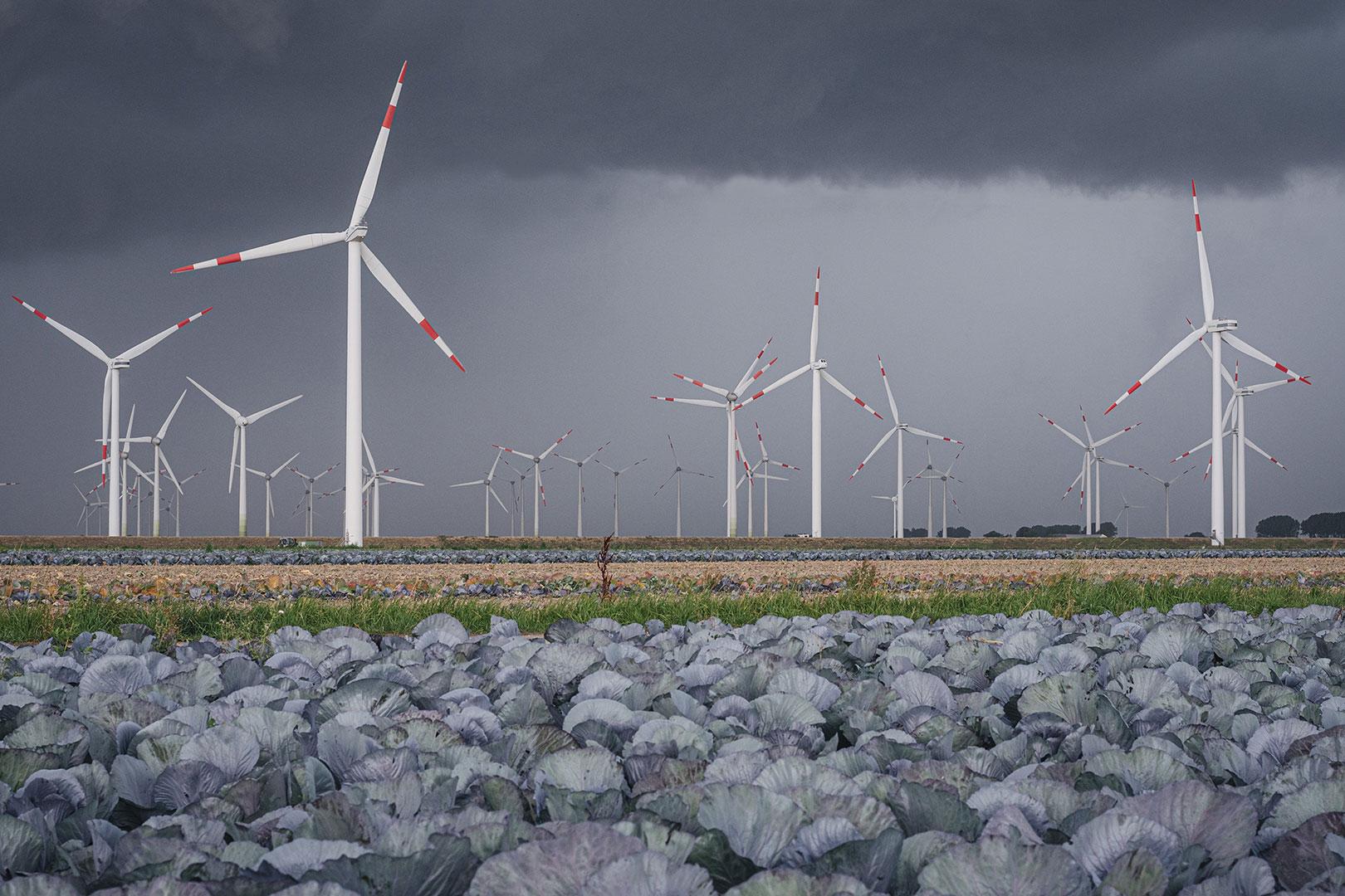 Windräder im Unwetter